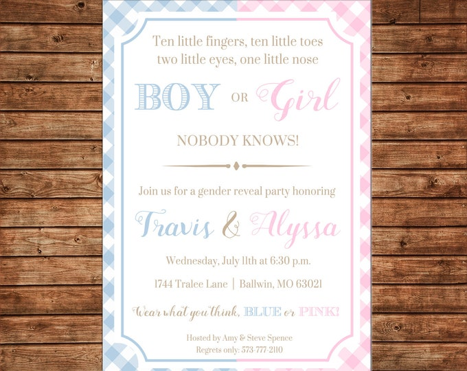 Invitation Gender Reveal Gingham Preppy Boy Girl Baby Shower Party - Can personalize colors /wording - Printable File or Printed Cards