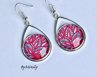 Earrings cabochon drops - fancy / African fabric - wax - pink - Fuchsia