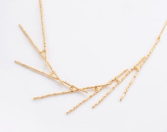 Dainty Golden Bridal Necklace, Unique and Delicate Necklace, Sterling Silver Statement Necklace