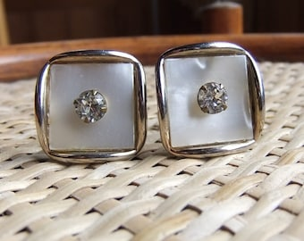 Vintage Mother of Pearl Cuff Links with Rhinestones Polished Gold Tone Excellent Vintage Condition