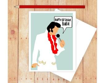 Elvis birthday card etsy happy birthday card elvis card elvis art elvis presely blank card bookmarktalkfo Gallery
