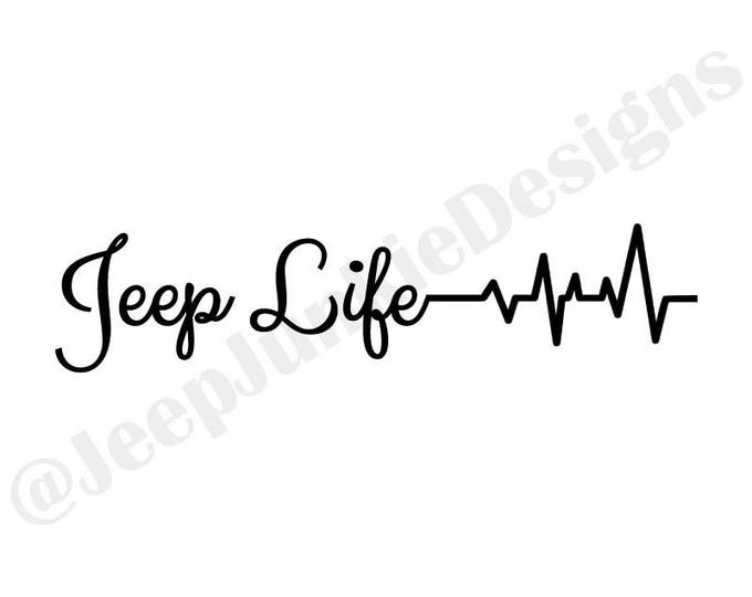 Jeep Life Heartbeat Vinyl Decal