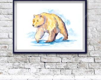 Watercolor Art, bear, Digital Print, Instant Download Printable Art, watercolor bear painting, bear painting, animal watercolor, animal art
