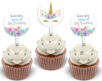 Unicorn Cupcake Toppers - Unicorn Head Cupcake Topper Birthday Baby Shower - Magical Cupcake Toppers - Unicorn Birthday - Unicorn Baby Gold