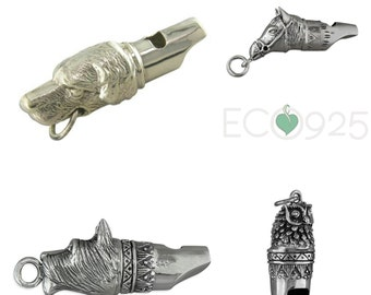Sterling Silver Whistle, Dog Whistle, Owl Whistle, Horse Whistle