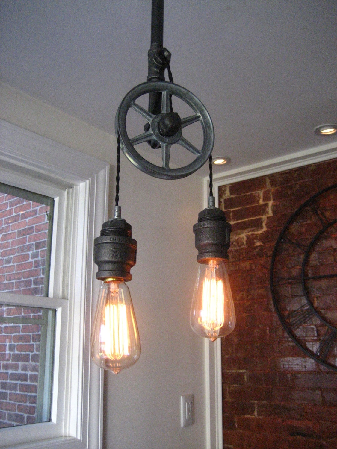 Pulley light metal light steampunk ceiling light zoom arubaitofo Image collections