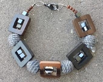 Wood & Wool Bracelet