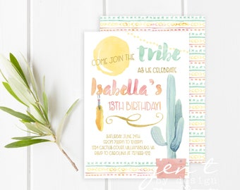 Boho Invitation | Cactus Invitation | Boho Birthday | Tribal Invitation | Boho | Boho Invitations | Tribal Birthday | Boho Invite | Tribal
