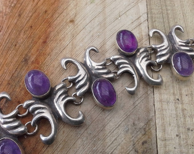 Mexico Sterling Silver 925 Amethyst Cabochon Mayan ModernistArtisan Bracelet Signed Hand Wrought Vintage