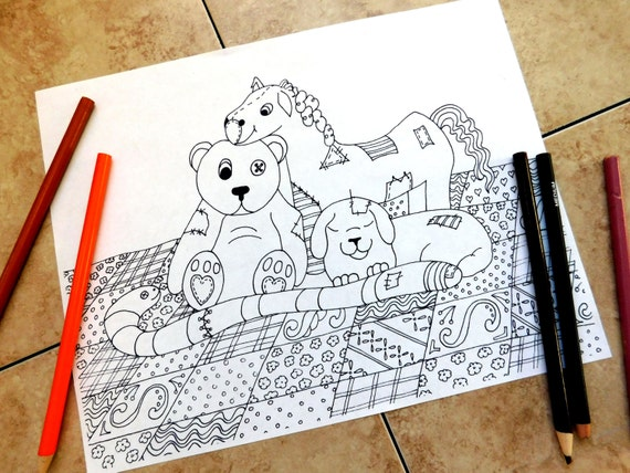 Coloring Pages That Look Like Real Animals : Stuffed animals coloring pages adult coloring page teddy
