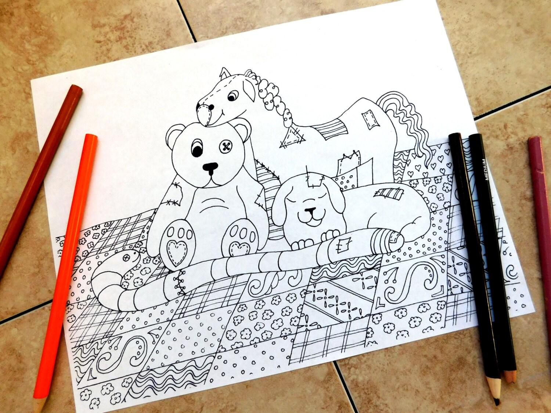 animales de peluche colorear páginas página para colorear