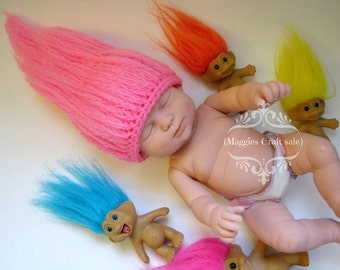 Wig Hair Beanie Prop, Hat prop, Photo prop, mythical creature, goblin, dwarf troll hair, baby hat, gnome beanie, baby costume hair