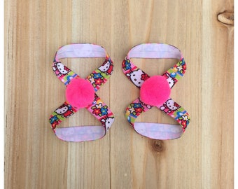 Pink Pom Pom Baby Barefoot Sandals / Kitty Barefoot Sandals