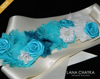 Turquoise Ivory Flower Girl Sash Blue Teal Ivory Satin Belt Flower Girl Turquoise Dress Sash Wedding Teal Sash Child Sash Girls Teal Sash