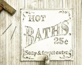 Bathroom Wall Decor, Bathroom Decor, Towel Hooks, Towel Holder, Kitchen Decor, Kitchen Signs, Kitchen Art, Bath Towel Holder, Shabby Chic