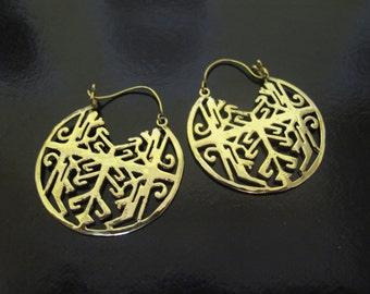 Brass Earrings, Brass Tribal Earrings, Tribal Earrings , Earrings, Symbol Earrings