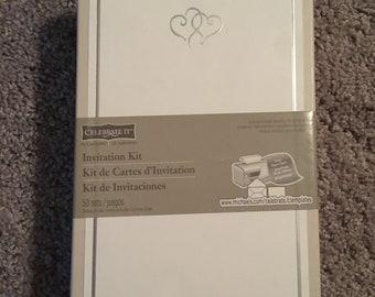 Wedding Invitation Kit - 50 sets Invitations + RSVP Cards + Envelopes - white silver hearts - FREE envelope seals included