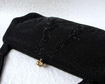 50s Vintage Charbet Black Beaded Purse Hand Made Belgium Rhinestone Kiss Clasp Jet Baguette Beads Evening Bag Handbag Formal Cocktail Prom