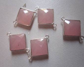 Natural pink chalcedony square sterling silver  2loop connectors 5 pcs  13mm-14mm