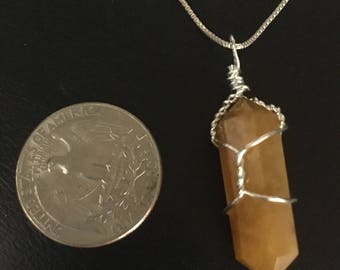 """Carnelian Gemstone Point Pendant Necklace 20"""" Sterling Silver Box Chain"""
