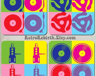 Vinyl Record Turntable Pop Art Drink Coaster Set - DJ Music Gift - Great For Housewarming, Bar & Coffee Table Display - Set Of 4