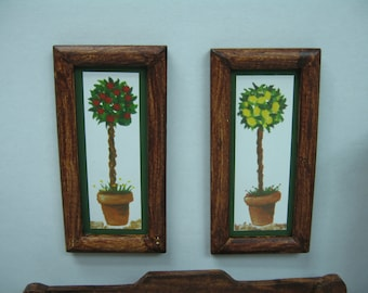 Miniature Dolls House art in wood frame of 2
