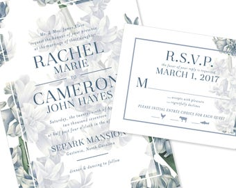 Floral / Botanical / Greenery Wedding Invitation | DIY Option Available | Invitation | RSVP | Info Card #1201