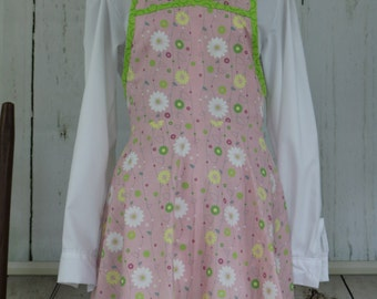 Farm smock apron, ready to ship, pink and green