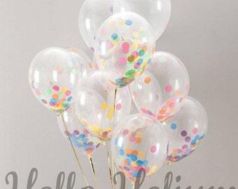 "Custom Colors-  8 Giant 16"" Confetti Balloons - Birthday, Baby Shower, Balloon Bouquet, Cake Topper, Balloon Centerpiece, Confetti, Backdrop"