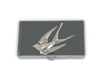 Swallow Metal Pill Box Hand Painted Enamel in Grey Enamel Aviary Inspired Pill Case with Personalized and Color Options