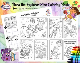 Dora the Explorer   Mini Coloring Pages   Mini Zine Coloring Pages   Party Printable   Coloring Books   Activity Page   Dora Coloring   Zine