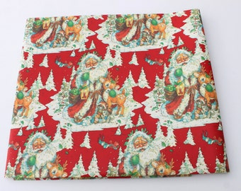 Vintage Christmas Wrapping Paper by the Yard, Santa Claus with Cute Deer Old Store Deer, Old Fashioned Santa and Deer, BTY