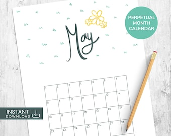 May Printable Calendar, Hand Lettered Calendar, Perpetual Calendar, Hand Drawn Calendar, Single Month Calendar, Month Wall Calendar