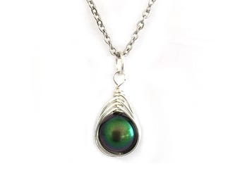 Scarab Green Swarovski Pearl Drop Necklace Wire Wrapped