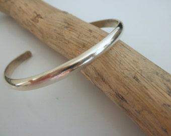 Sterling silver Cuff bracelet -half round shape-