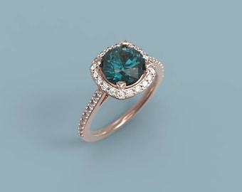 Rose Gold Alexandrite Halo Engagement Ring Alexandrite Ring Rose Gold Alexandrite Diamond Ring Alexandrite Ring Halo