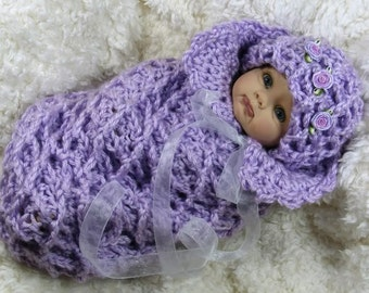 Lavender with Roses Cocoon Crochet Handmade for Baby or Doll Prop