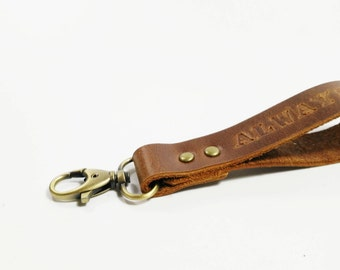 Leather Keychain, Custom Keychain, Mens Keychain, Engraved Keychain, Personalized Leather Keychain, Keyring, Keyfob, Keychain Wristlet Strap