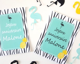 10 cards black Flamingo and pineapple - size 10 x 13 cm - printed and personalized