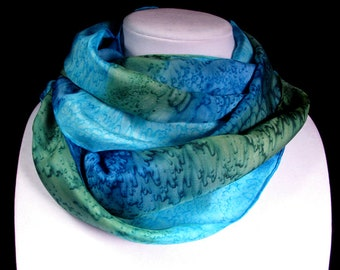 Scarf, Silk Scarf, Hand Painted Silk Scarf, Summer Scarf, Seaside, Beach, Turquoise Scarf - South Pacific
