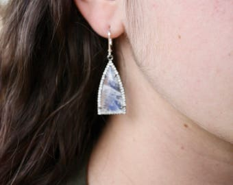 Moonstone Earrings,trillion earrings,triangular earrings,pave cz earrings,pave silver earrings,gift for her,gift under 150, white earrings