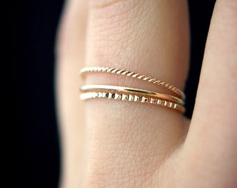 NEW Mixed Texture Gold stacking ring set, gold stack ring, ring set, gold fill set, delicate gold ring, lined ring, twist ring, set of 3