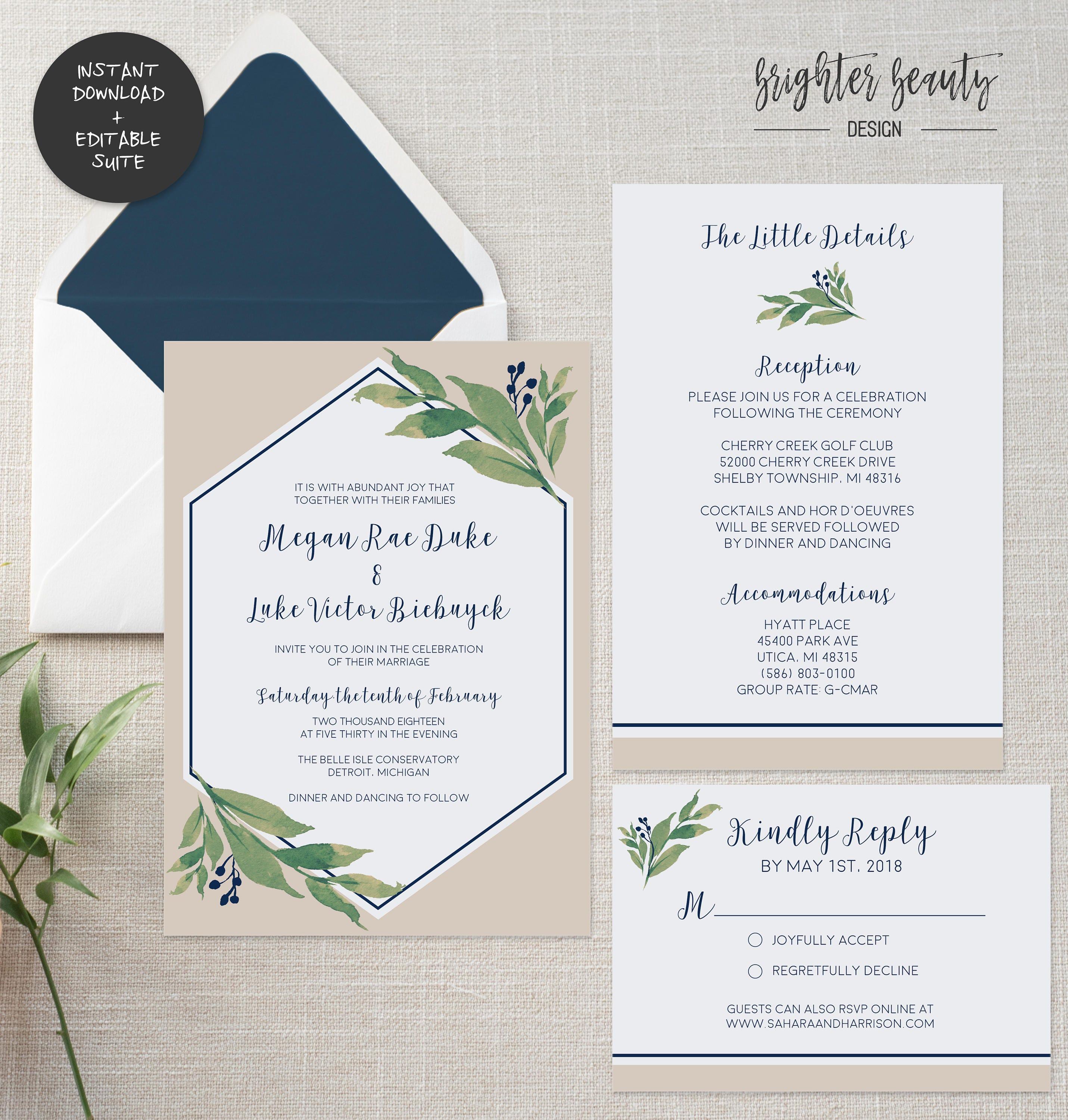 Navy greenery wedding invitation suite instant download editable navy greenery wedding invitation suite instant download editable pdf do it yourself printable solutioingenieria Choice Image