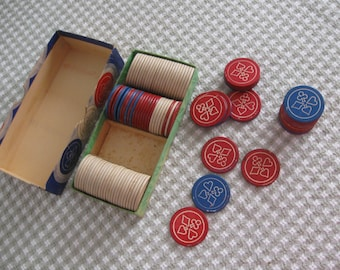 Vintage Embossed Poker Chips, Red-White-Blue, 4 Suits Design in Box of 99