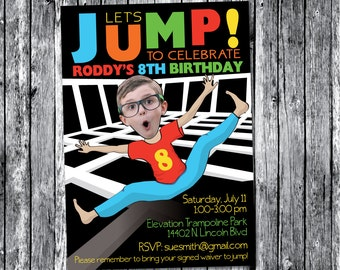 Trampoline Bounce House  Birthday Party Invitation for  BOY - Personalized with your photo DIGITAL FILE
