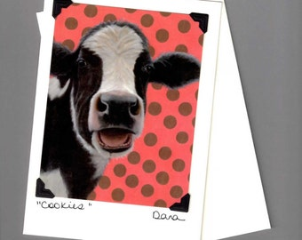 Holstein Cow Card - Funny Cow Card -Laughing Cow -  Cow Art - Black and White Cow on Polka Dots Card - Proceeds Benefit Animal Charity