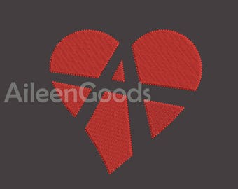 Anarchy Heart Embroidery design 8 Size  INSTANT download machine embroidery