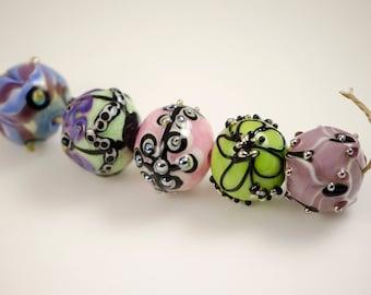 Happy -- Artisan lampwork bead set