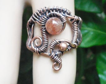 Sunstone tribal ring, wire wrapped ring size 6, unique boho rings, bohemian rings, wire wrapped jewelry, boho jewelry, wire wrap ring