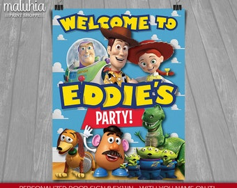 Toy Story Birthday Sign - Customized Door sign - Disney Toy Story Party Birthday - Printable Welcome Sign - Woody Buzz Lightyear Jessie